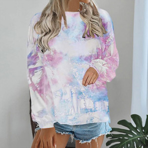 Autumn Womens Hoodie Sweatshirt Long Sleeve Jumper Loose Pullover Tops 2020 Fashion Tie Dye Shirt Spring Casual Clothes NEW
