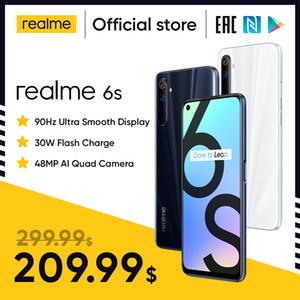 Realme 6s teléfono inteligente 90Hz 6.5inch FHD + pantalla del teléfono móvil Teléfono de 6 GB 128 GB 48MP Qual Cámaras Android 10 4300mAh 30W cambiador