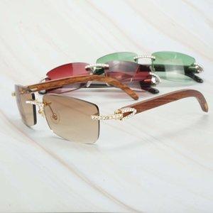Gafas de sol de diamante brillante de huellas dactilares Hombres Strass Shades Women Springs La gafas de la carter de madera de lujo para Bruilo