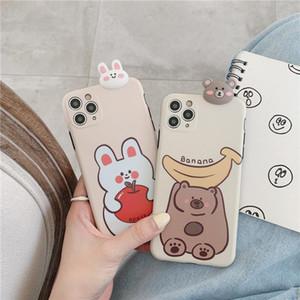 Cajas de teléfono de silicona suave para iPhone 7Plus 11 Pro Max X XS Max SE 2020 Banano Bear Bear Apple Cubierta de conejo