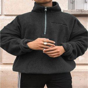 Fjun Hommes Pull en laine Mandarin Collier Décontracté Pull en coton à manches longues à manches longues