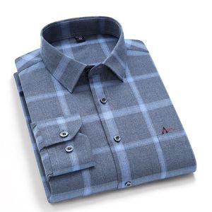 Reserva aramy manga comprida homens xadrez casual novo quente confortável moda macia se ajuste regular escovado camisa q0109