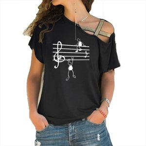 Music Notes Funny Printed T Shirt Women Summer Animal Short Sleeve Tshirts Harajuku T Shirt Girl Irregular Skew Cross Bandage Tops