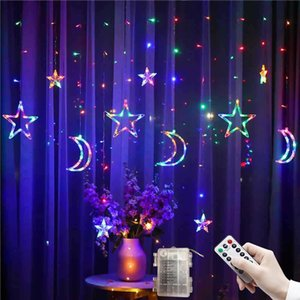 3.5M LED Star Moon Curtain Lights Christmas Garlands String Fairy Lights Outdoor For Home Wedding Holiday Party New Year Decor 201023