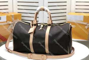 Bolsa de couro genuíno bolsa de luxo saco homens bag saco de viagem top-Quality Duffle Bag Bolsas de bagagem Mulheres Grande capacidade Tote KP 45 50 55 cm
