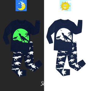 Children's Luminous Printed Dinosaur Sleepwear Baby Boys Pajama Sets Christmas Kids Clothing Sets Girls glow in the dark pijamas Pyjama