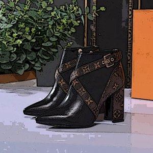 Louis Vuitton high heel boots ujer del tobillo inluxe Botas matchmake BAJA cargador de la manera de las mujeres calza botines de cuero de las mujeres botas con el tamaño 35-42