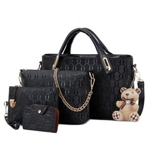 Fashion 4pcs Set Women Bag PU Leather Luxury Designer Bags Handbag Messenger Bag Shoulder Bag Wallet Bags Dropshipping 30#97 X1228