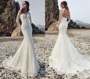 Custom Made Long Sleeve Lace Mermaid Wedding Gowns Vestido De Novia Sexy Open Back Elegant Bridal Dresses Robe Mariee