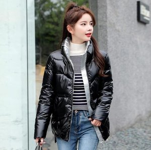 2020 Autumn Women's Winter Coats Fashion Silver Stand Collar Parkas Winter Jacket Women Pockets Padded Cotton Coat