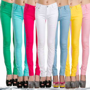 FSDKFAA Frau Jeans feste Bleistift-Frauen-Hosen-Mädchen-süße Süßigkeit Farbe dünne Hosen Femme Pantalon gute Qualitätsfrauen Gamaschen 1017