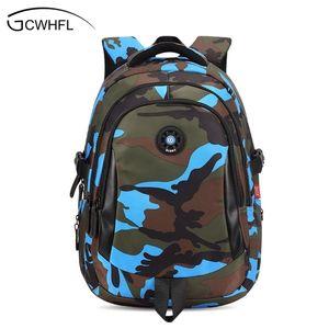 Top Marca ortopédico Camouflage Crianças Escola Bags Backpack Mochila para adolescentes Crianças Meninos Meninas Laptop Bag Mochila Satchel Q1109