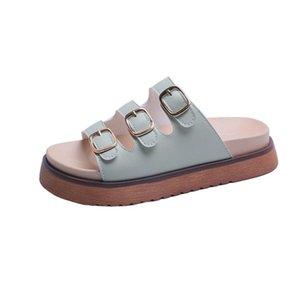 Frauen Hausschuhe Studenten Schuhe für Mädchen Highschool Wear Weibliche Neuer Gürtelschnalle Mode Ein Wort Dicker Boden Muffin Cooler Mopp