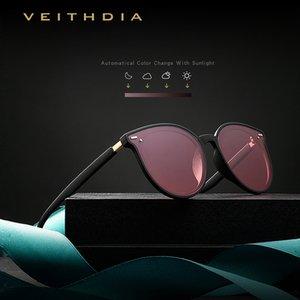 VEITHDIA Marke Photochromic Frauen Sonnenbrillen polarisierten Spiegel-Objektiv Weinlese Tag Nacht Dual-Sun-Glas-weiblich für Frauen V8520 1006 1007