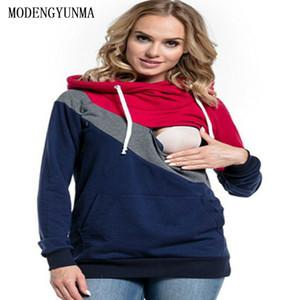 Estación MODENGYUNMA ropa de moda vestidos de maternidad de primavera y otoño de manga larga con capucha Vestidos Lactancia