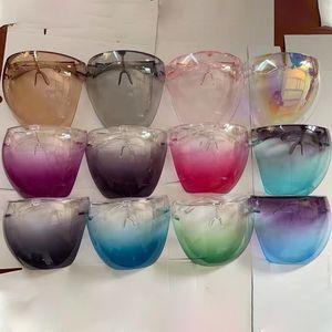 Segurança Faceshield com óculos moldura transparente rosto de rosto de rosto protetora máscara de rosto escudo claro designer máscaras