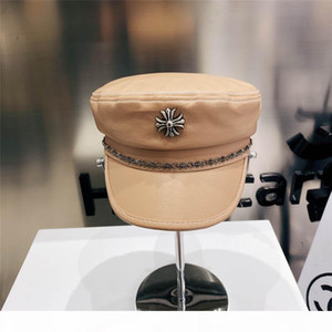 New high quality leather military cap high-end custom version Web celebrity fashion blogger recommends the same wall crack leather with a gr