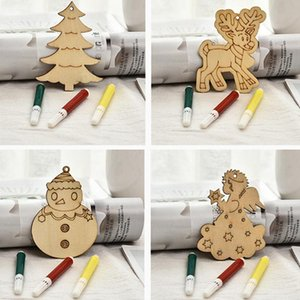 1Set DIY Painted Wooden Chip Christmas Tree Hanging Ornaments Pendant Kids Gifts Snowman Tree Shape Xmas Ornaments Decorations