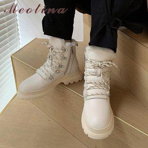 Meotina Lana Real Piel Plataforma de cuero genuino Pisos Botas de nieve Mujeres Cruzadas Cremallera Cremallera Cálidas Botas de tobillo Dama Zapatos cortos