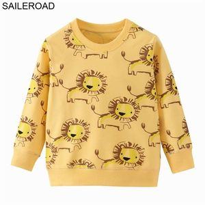 Saileroad الأسد طباعة الربيع الفتيان ماركة ملابس الأطفال هوديس بوي القطن الحيوان نمط الاطفال سوياتشيرتس 201222