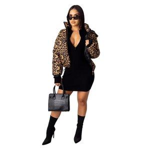 Otoño invierno de las mujeres diseñador de la chaqueta de camuflaje capa del leopardo grueso ocasional de la manera caliente de abrigo corto algodón de la impresión