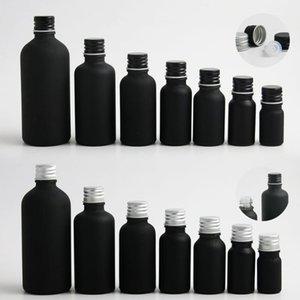 Небольшое пустое матовое черное бостон круглое стекло эфирное масло E жидкость бутылка с алюминиевой винтовой крышкой 5 мл 10 мл 20 мл 30 мл 50 мл 100 мл.