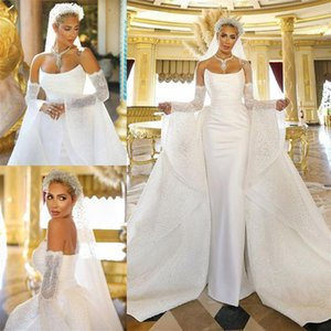 Strapless Satin Mermaid Wedding Dresses with Detachable Train Plus Size Bridal Gowns 2021 Designer Wedding Dress