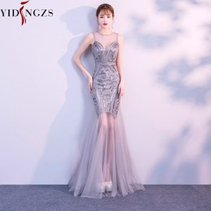 Robe De Soiree Yidingzs Sequins Beading Evening Dresses Mermaid Long Formal Prom Party Dress New Style Y200930