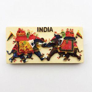 Pintado lichi la India tradicional elefante imán de frigorifico Mano refrigerador magnético engomada decoración del hogar Viajes recuerdos H7By #