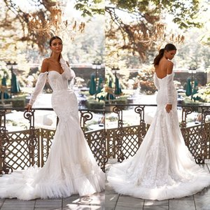 New Elegant Mermaid Wedding Dresses Lace Appliqued Off the Shoulder Country Bridal Gowns Long Sleeves Robe De Mariage