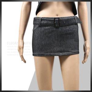 Mode de faible hauteur taille Micro MINI Jupe crayon Denim Short Skirt One Step Jupe Sexy Wear Jeans Paquet Hip Plus Size F50