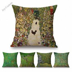 Dekorasyon Sanat Yastık İçin Koltuk Pastoral Ağacı Çiçek Keten Yastık Kapak Davası'nda 8zcz # atın Boyama Green Farm Manzara Gustav Klimt Yağı