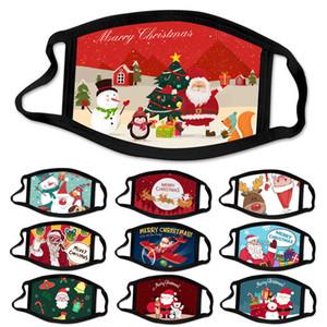 10pcs tissu de coton de fête de Noël Masques pour adultes Masque Cartoon Noël Visage anti-poussière lavable réutilisable bouche masque couverture