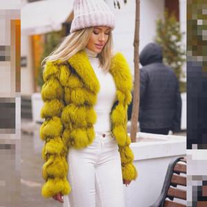 Fursarcar 2020 Nuevo invierno chaquetas de mujer Real Natural Fox Abrigo grueso Cuerpo caliente Cuerpo de piel genuina Outwear Outwear con collar
