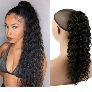 10A GradeVirgin Brazilian Human Hair Ponytail Natural Black color Deep Wave Drawstring Claw Ponytail Hair Extensions 100g