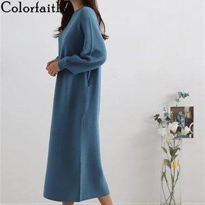 Colorfaith Nouveau 2019 Automne Hiver Femmes mi-mollet chandails de tricot droites robes style coréen élégant solide Casual DR2997 c1009