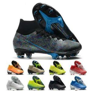 Qualidade barato New Black Cr7 13 Elite 360 Mercurial Superfly V Sapatos FG Futebol C Ronaldo 7 Nuovo Branco Pacote Mens Futebol Grampos