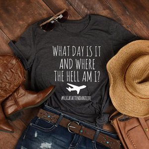 What Day Is It And Where The Hell Am I Flight Attendant Life T Shirt Funny Airplane Mode Graphic Tees Tops Women