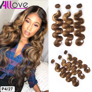Allove Highlight 4/27 Brasiliani Bundles Human Hair Bundles Weft Peruvian Body Wave Andian Virgin Capelli Estensioni Malese Two Tone Ombre Colore