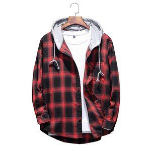 2020 Autumn Men's Slim Fit Men Long Sleeve Hooded Shirt Men Red Plaid Shirts Male Casual Shirt 4XL 5XL