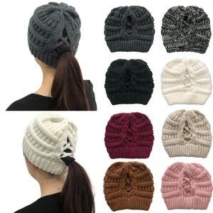 Pom Pom Criss Cross Ponytail Beanie 32 Styles Winter Warm Wool Knitted Hat Women Cross Ponytail Hat Beanie OWE2105