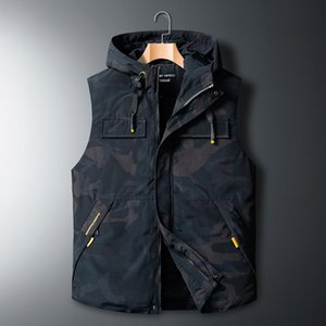New Mens Jacket Sleeveless Vest Winter Warm Male Cotton-Padded Camo Vest Coats Men Hooded Thicken Waistcoats Solid Clothing 8XL