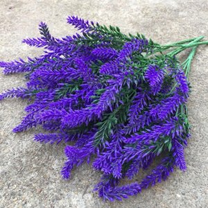25heads rayon Artificial Lavender plastic Wedding Bridal fake flowers Bouquet Plants Home Party Decor for Display Vivid Leaf xqZd#