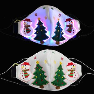 Tasarımcı Maskesi Noel Parlayan Yüz Maskesi Tasarımcısı Yetişkin LED Maske Noel Ağacı Kardan Adam LED Boru Maskeleri Siyah Beyaz Kırmızı Facemask Erkek Kız
