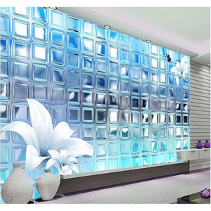 wholesale- 3d wallpaper mural art decor picture backdrop modern living room hotel restaurant silver mosaic squares painting mural