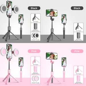 New Wireless Bluetooth Selfie Stick Tripod LED Ring Light Foldable Handheld Monopod Shutter Remote Tripod For iPhone 11 Huawei Z1124