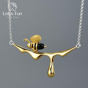 Lotus Fun 18 K Altın Arı ve Damlama Bal Kolye Kolye Gerçek Kadınlar için 925 Ayar Gümüş El Yapımı Tasarımcı Güzel Takı 201124