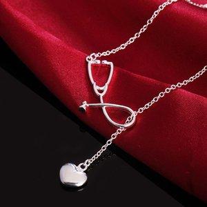 GinstoTelate Charms Boda Color Plata Color Collar Doctores Estetoscopio Lariat Joyería Linda Niza Regalo H Sqccmz