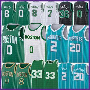 Lamelo 2 Ball Jayson 0 Tatum 2021 Yeni Basketbol Jersey Retro Gordon 20 Hayward Kemba 8 Walker Marcus 36 Smart 33 Jaylen 7 Kahverengi Formalar