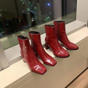 Martin Boot S и Girls 2020 Новый стиль густые каблуки, квадратная голова, короткие бусы, темные сексуальные сапоги и голые ботинки.